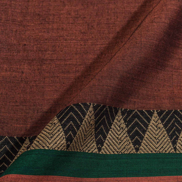 Rust Brown Colour Mercerised Cotton With Two Side Ethnic Border Fabric for Sarees and Kurtis