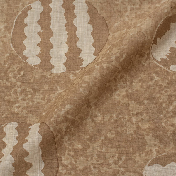 Dark Beige Colour Geometric Print Viscose Dupion Type Fabric