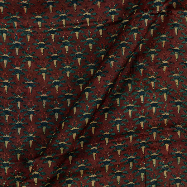 Modal Satin Maroon Colour Vanaspati Hand Block Print  Fabric