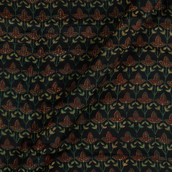 Modal Satin Black Colour Vanaspati Hand Block Print  Fabric