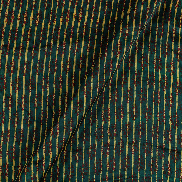 Modal Satin Green Colour Vanaspati Hand Block Print  Fabric