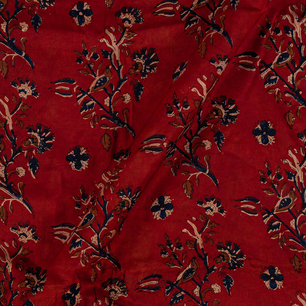 Modal Satin Red Colour Vanaspati Hand Block Print  Fabric