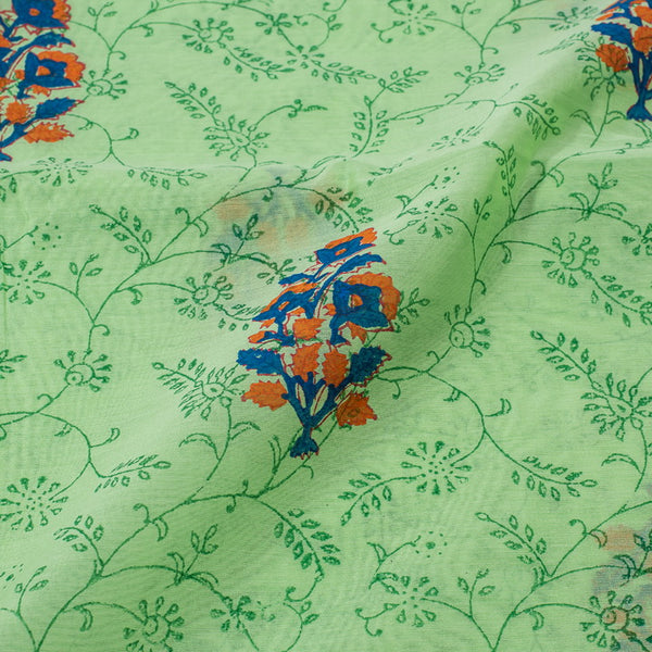 Pastel Green Colour Hand Block Print Chanderi Feel Cotton fabric