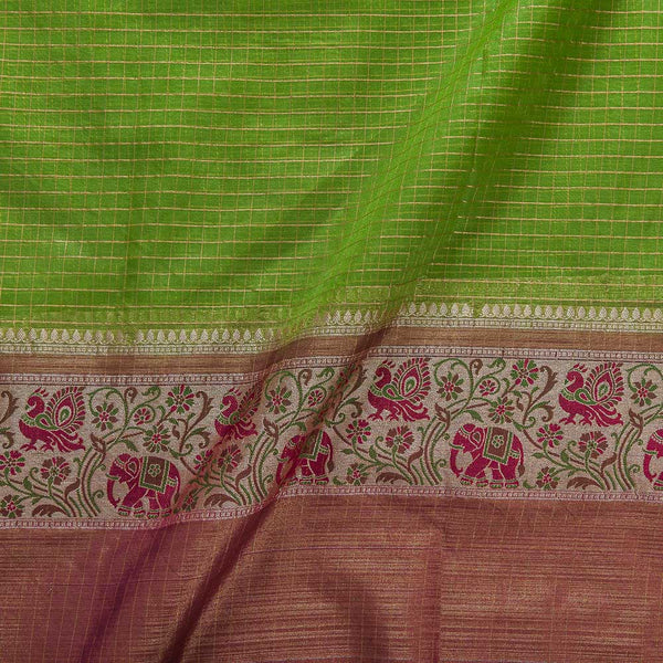 Chanderi Feel Parrot Green Colour Zari Checks With Two Side Ethnic Border Fabric