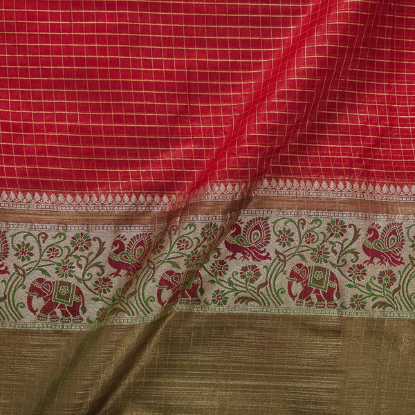 Chanderi Feel Red Colour Zari Checks With Two Side Ethnic Border Fabric