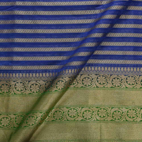 Chanderi Feel Royal Blue Colour Zari Stripes With Two Side Ethnic Border Fabric