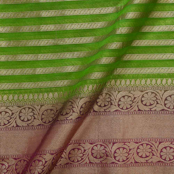 Chanderi Feel Parrot Green Colour Zari Stripes With Two Side Ethnic Border Fabric