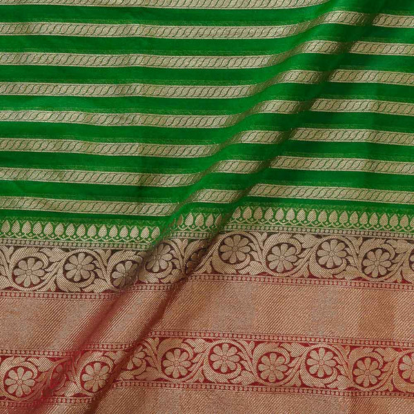 Chanderi Feel Green Colour Zari Stripes With Two Side Ethnic Border Fabric