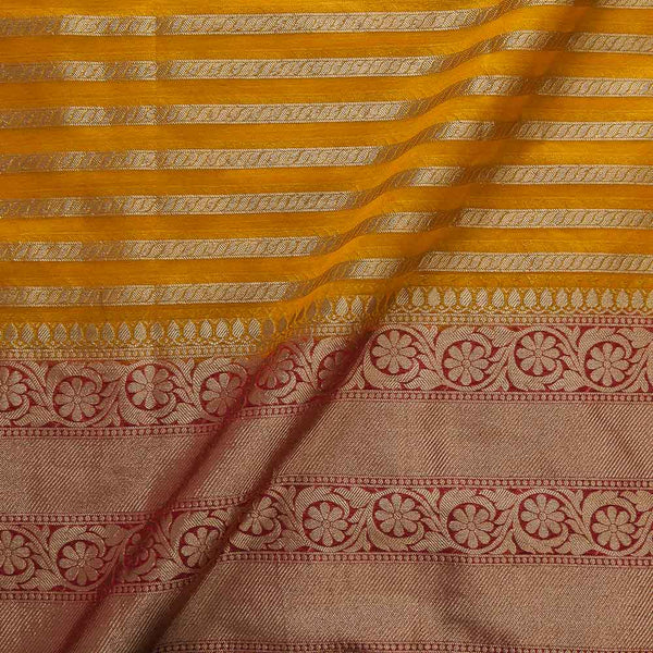 Chanderi Feel Mustard Yellow Colour Zari Stripes With Two Side Ethnic Border Fabric