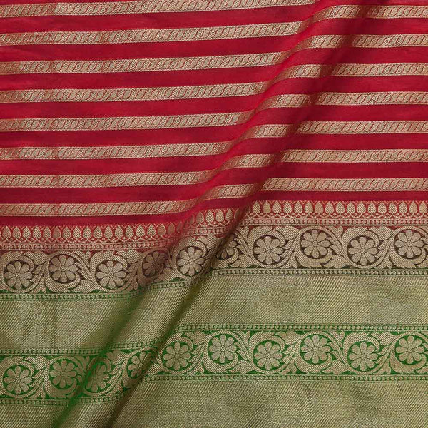 Chanderi Feel Red Colour Zari Stripes With Two Side Ethnic Border Fabric