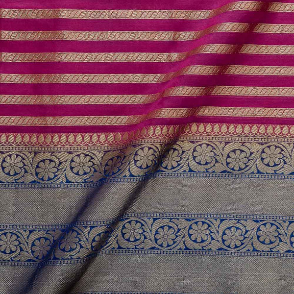 Chanderi Feel Rani Pink Colour Zari Stripes With Two Side Ethnic Border Fabric
