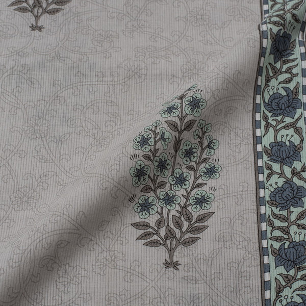 Ash Grey Colour Floral Block Print Viscose Cotton Fabric