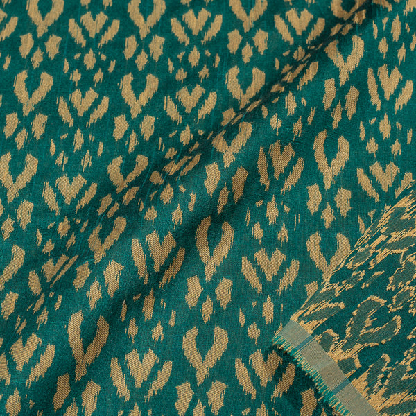 Rama Green Colour Geometric Design Jacquard Cotton Silk Fabric
