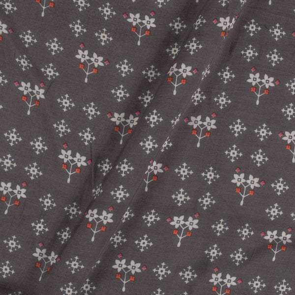Viscose Muslin Feel Dark Cedar Colour Floral Print Fabric