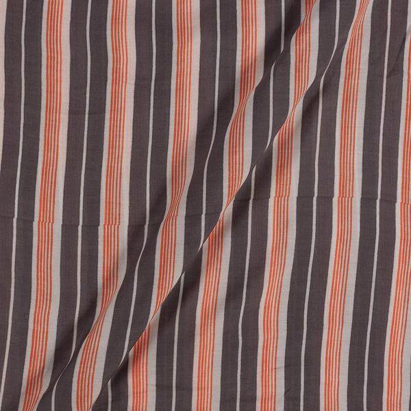 Viscose Muslin Feel Dark Cedar Colour Stripes Fabric