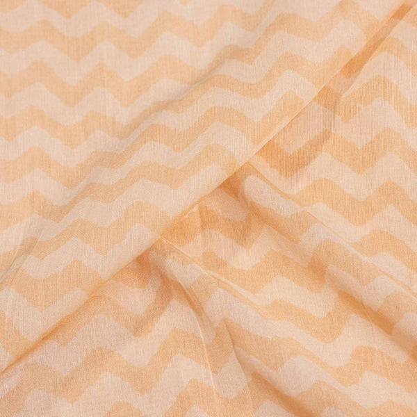 Pastel Peach Colour Chevron Print Muslin Feel Viscose Fabric