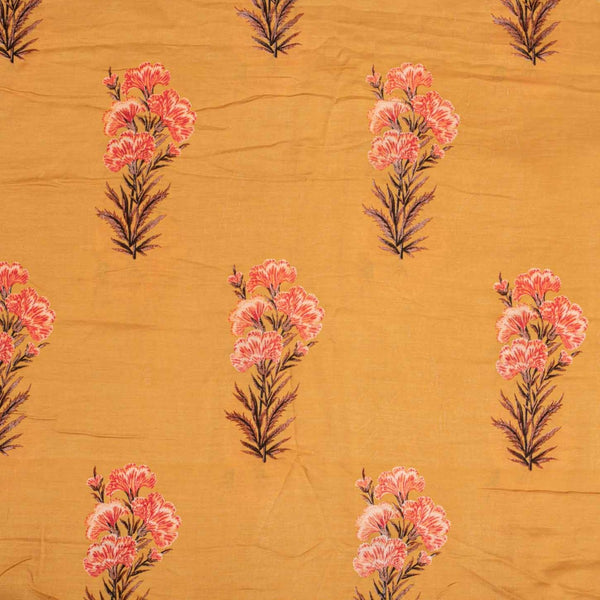 Mustard  Colour Floral Print Muslin Feel Viscose Fabric