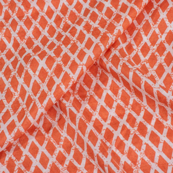 Carrot Orange Colour Geometric Print Muslin Feel Viscose Fabric