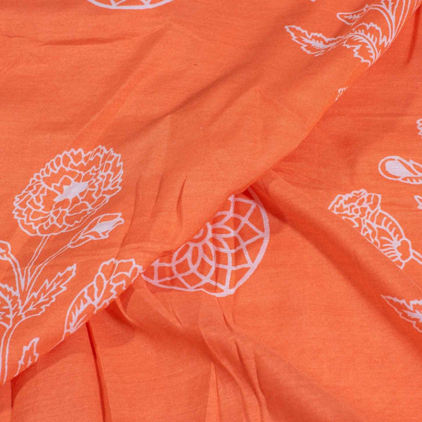 Peach Orange Colour Floral Print Muslin Feel Viscose Fabric
