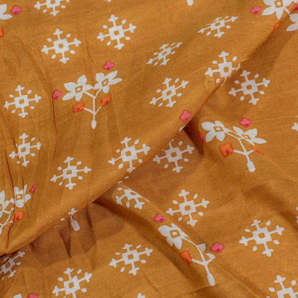 Mustard Orange Colour Geometric Print Muslin Feel Viscose Fabric