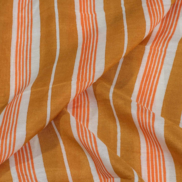 Mustard Orange Colour Stripes Print Muslin Feel Viscose Fabric