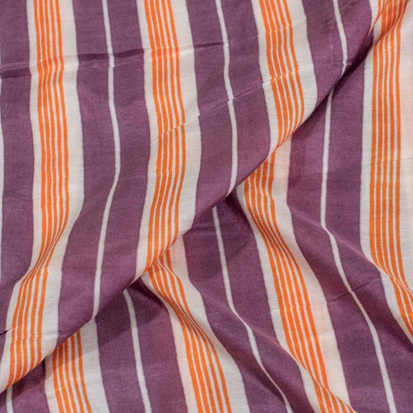 Purple Colour Stripes Print Muslin Feel Viscose Fabric