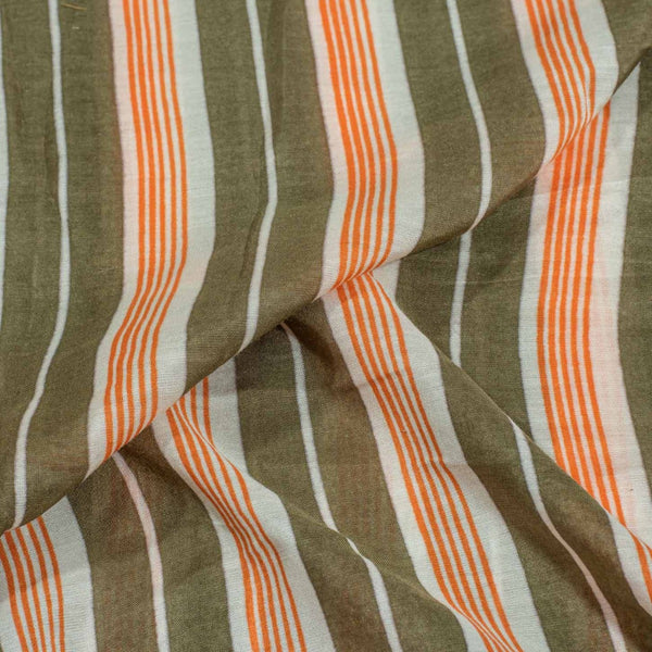 Olive Colour Stripes Print Muslin Feel Viscose Fabric