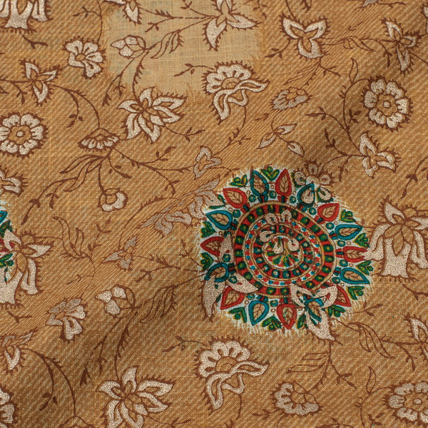 Ginger Colour Gold Floral Jaal Print Slub Cotton Fabric