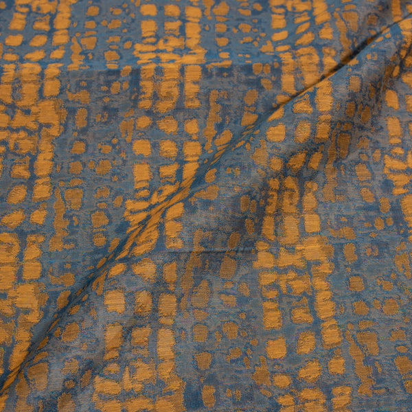 Cadet Blue Colour Abstract Chanderi Feel Jacquard Fabric