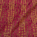 Coral Colour Abstract Chanderi Feel Jacquard Fabric