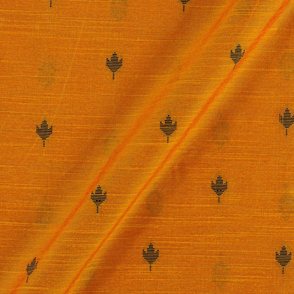 Spun Dupion Jacquard Tangerine Orange Colour Leaves Pattern Fabric