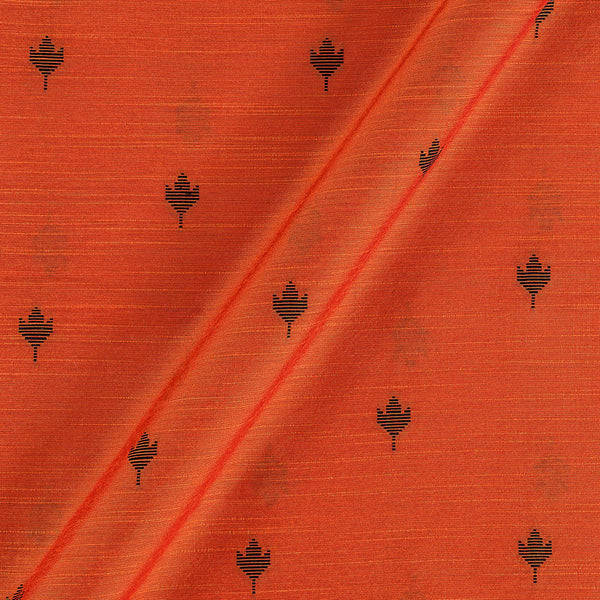 Spun Dupion Jacquard Orange Carrot Colour Leaves Pattern Fabric
