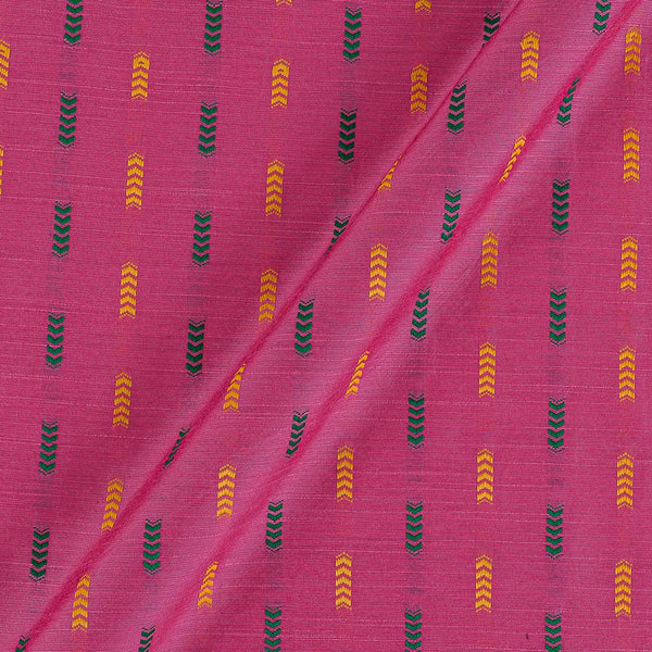 Spun Dupion Jacquard Pink Colour Geometric Pattern Fabric