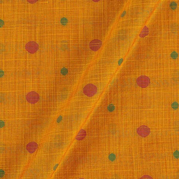 Spun Dupion Jacquard Mustard Orange Colour Geometric Pattern Fabric