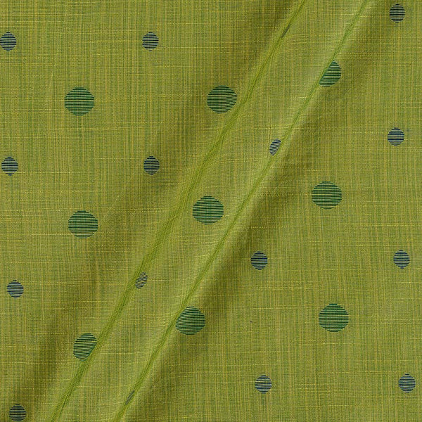 Spun Dupion Jacquard Green Colour Geometric Pattern Fabric