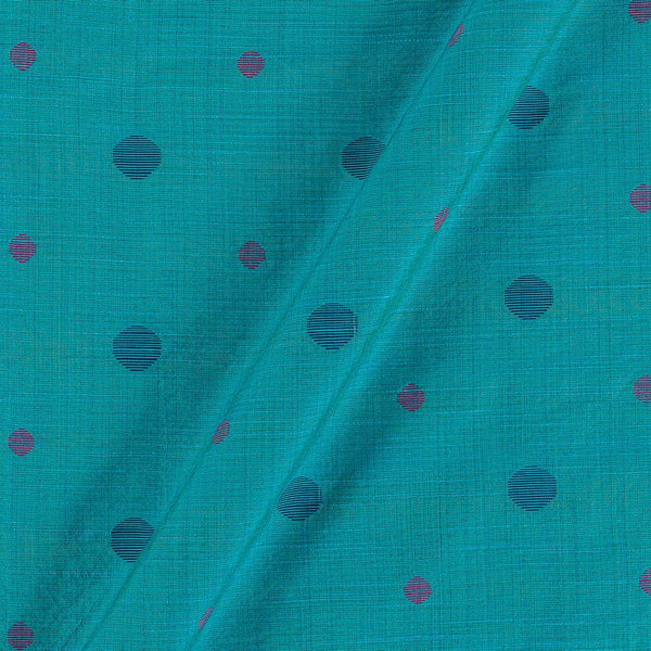 Spun Dupion Jacquard Sea Blue Colour Geometric Pattern Fabric
