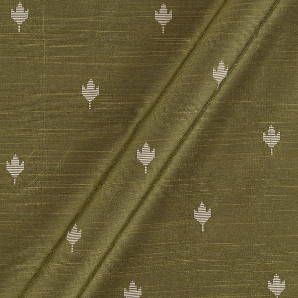 Spun Dupion Jacquard Mehendi Green Colour Leaves Pattern Fabric