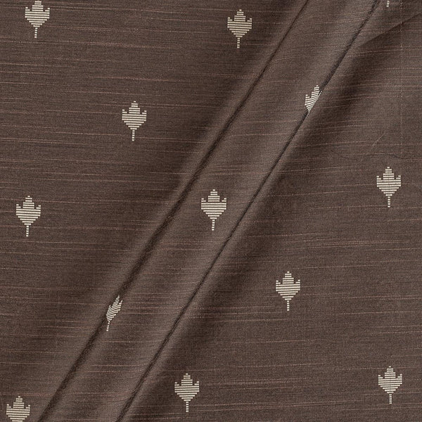 Spun Dupion Jacquard Nut Brown Colour Leaves Pattern Fabric