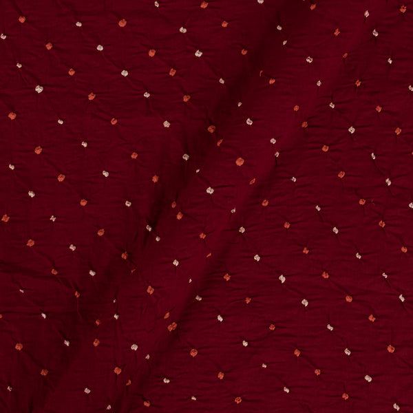 Satin Cotton Maroon Colour 40 inches Width Ek Bundi Bandhani Fabric Cut of 2.5 Meter