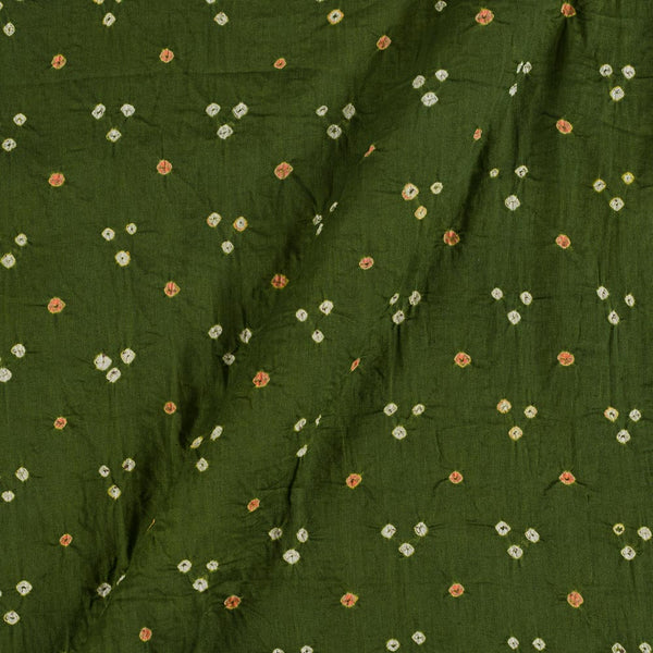 Satin Cotton Mehndi Green Colour 41 inches Width Authentic Bandhani Fabric Cut of 2.5 Meter