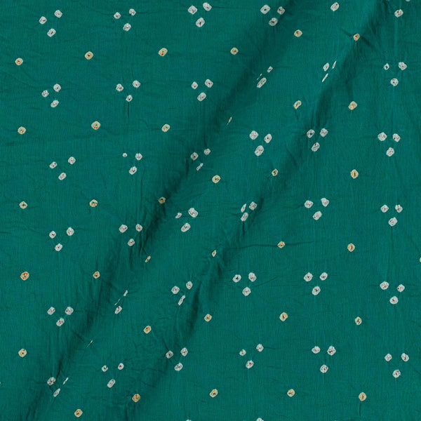 Satin Cotton Rama Green Colour 41 inches Width Authentic Bandhani Fabric Cut of 2.5 Meter