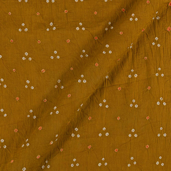 Satin Cotton Mustard Brown Colour 41 inches Width Authentic Bandhani Fabric Cut of 2.5 Meter