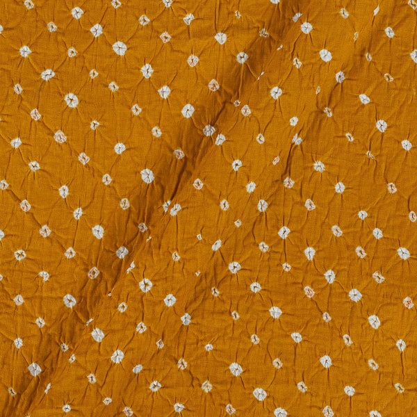 Cotton Satin Mustard Yellow Colour 42 inches Width Ek Bundi  Bandhani Fabric
