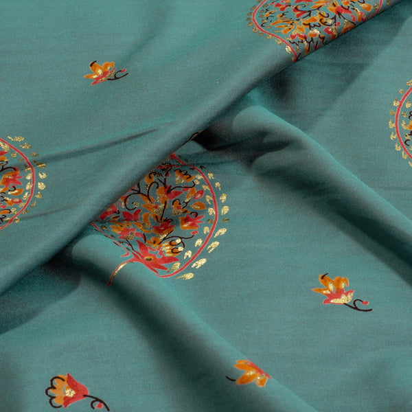 Mineral Blue Colour Leaves Foil Print Modal Silk Feel Fabric