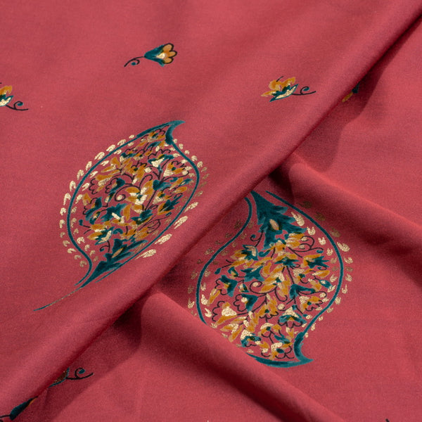 Carrot Pink Colour Leaves Foil Print Modal Silk Feel Fabric