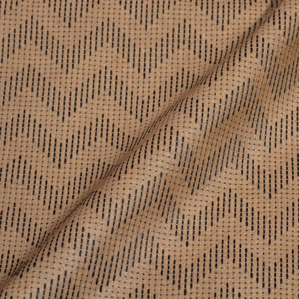 Beige Gold Colour Chevron Pattern Bhagalpur Jacquard Cotton Fabric