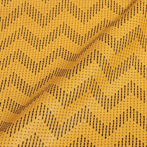 Yellow Colour Chevron Pattern Bhagalpur Jacquard Cotton Fabric