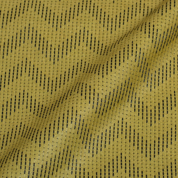 Olive Colour Chevron Pattern Bhagalpur Jacquard Cotton Fabric