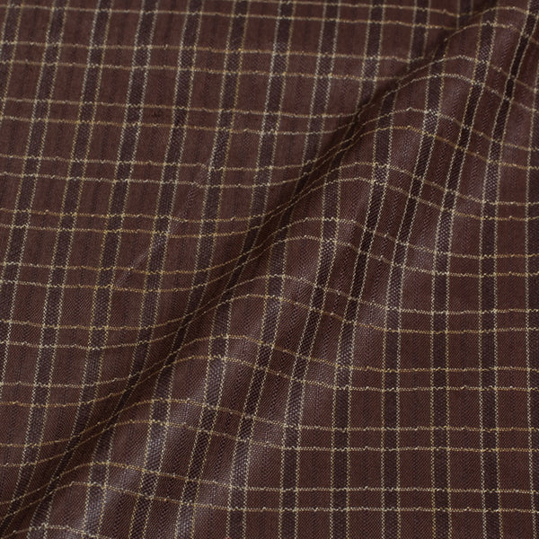 Choco Brown Colour Checks Bhagalpur Jacquard Cotton Fabric