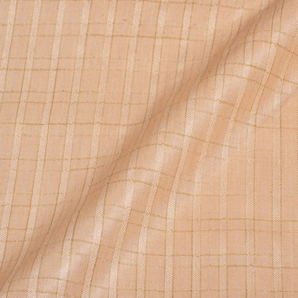 Off White Colour Checks Bhagalpur Jacquard Cotton Fabric